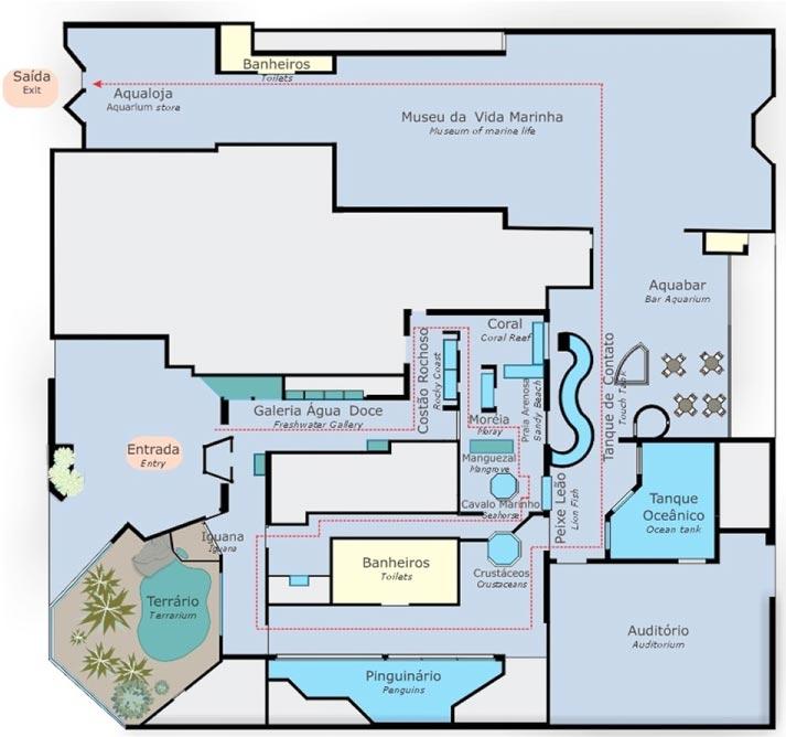 Mapa interno do Aquário de Ubatuba - Mapa do Aquário de Ubatuba
