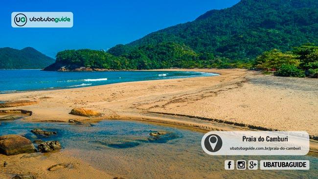 Além de rios e cachoeiras na região, a Praia do Camburi, já na divisa com Paraty, é uma ótima praia no extremo norte de Ubatuba para tomar banho de mar