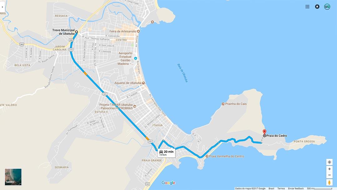 Mapa de localização da Praia do Cedrinho em Ubatuba