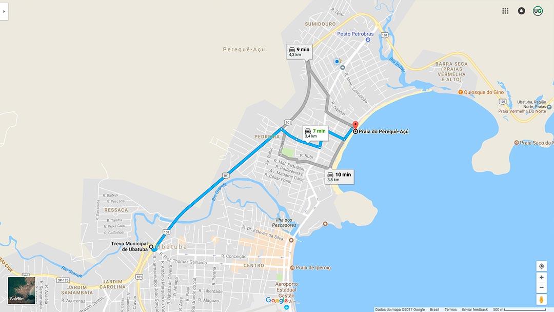 Mapa de localização da Praia do Perequê-Açú em Ubatuba