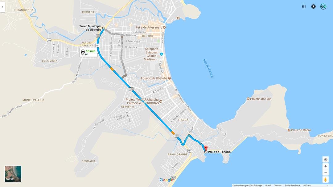 Mapa de localização da Praia do Tenório em Ubatuba