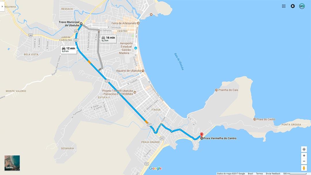 Mapa de localização da Praia Vermelhado do Centro em Ubatuba