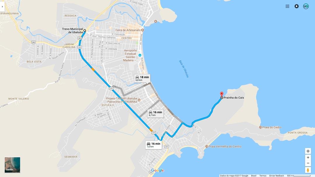 Mapa de localização da Prainha do Caisão de Ubatuba