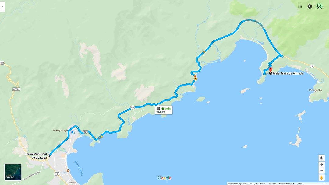 Mapa de localização da Praia Brava da Almada em Ubatuba