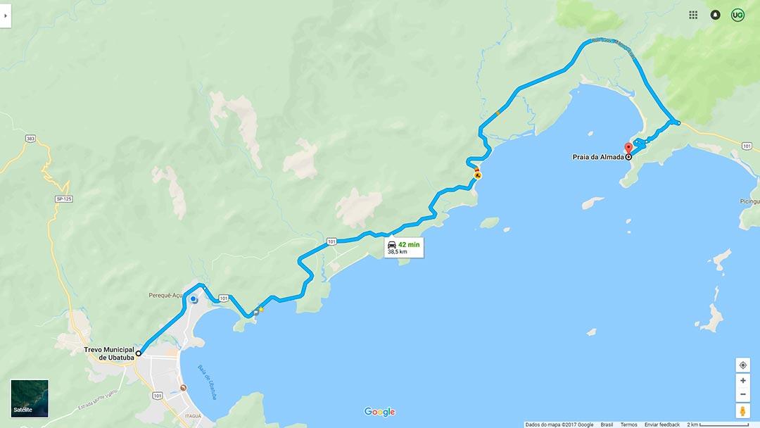 Mapa de localização da Praia da Almada em Ubatuba