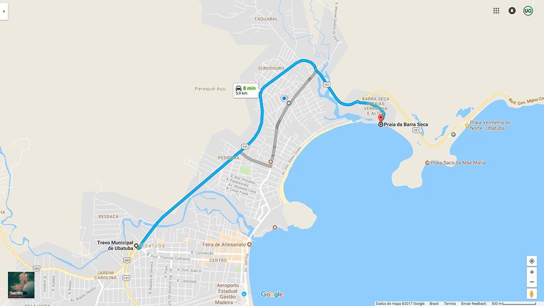 Mapa de localização da Praia da Barra Seca em Ubatuba