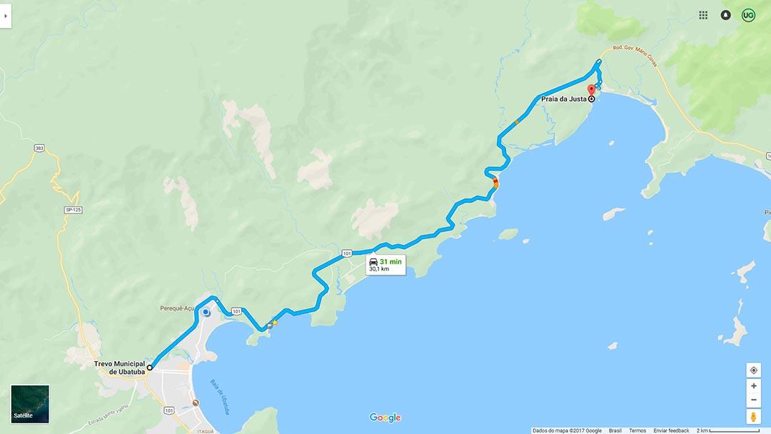 Mapa de localização da Praia da Justa em Ubatuba