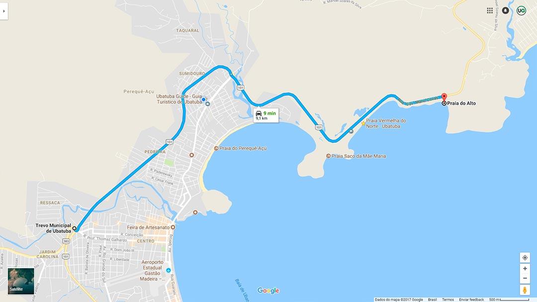 Mapa de localização da Praia do Alto em Ubatuba