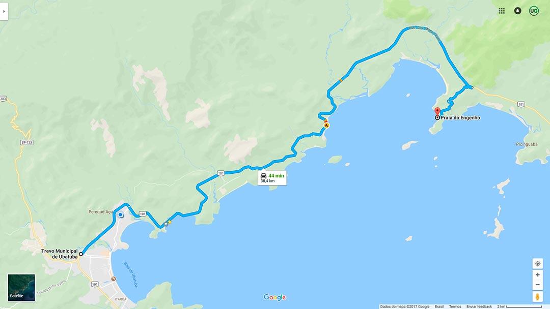 Mapa de localização da Praia do Engenho em Ubatuba