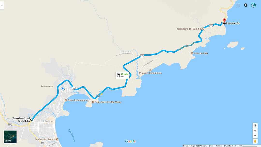 Mapa de localização da Praia do Léo em Ubatuba