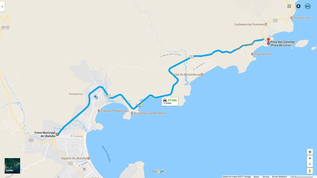 Mapa de localização da Praia do Lúcio ou das Conchas em Ubatuba