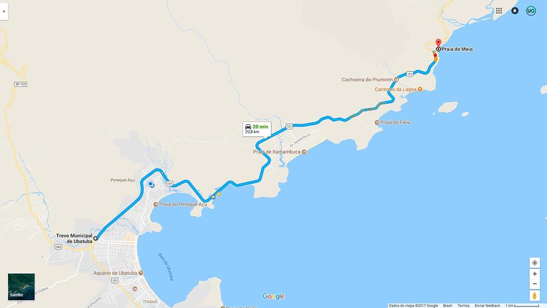 Mapa da Praia do Meio em Ubatuba - Como chegar na Praia do Meio