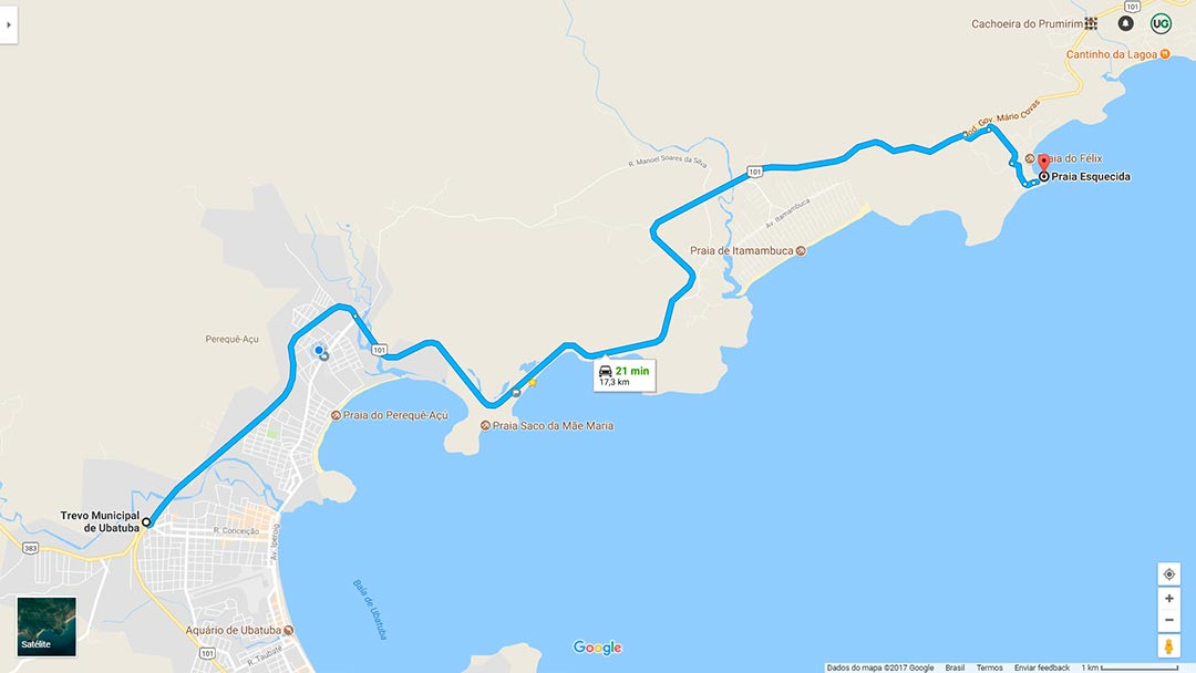 Mapa de localização da Praia do Português em Ubatuba