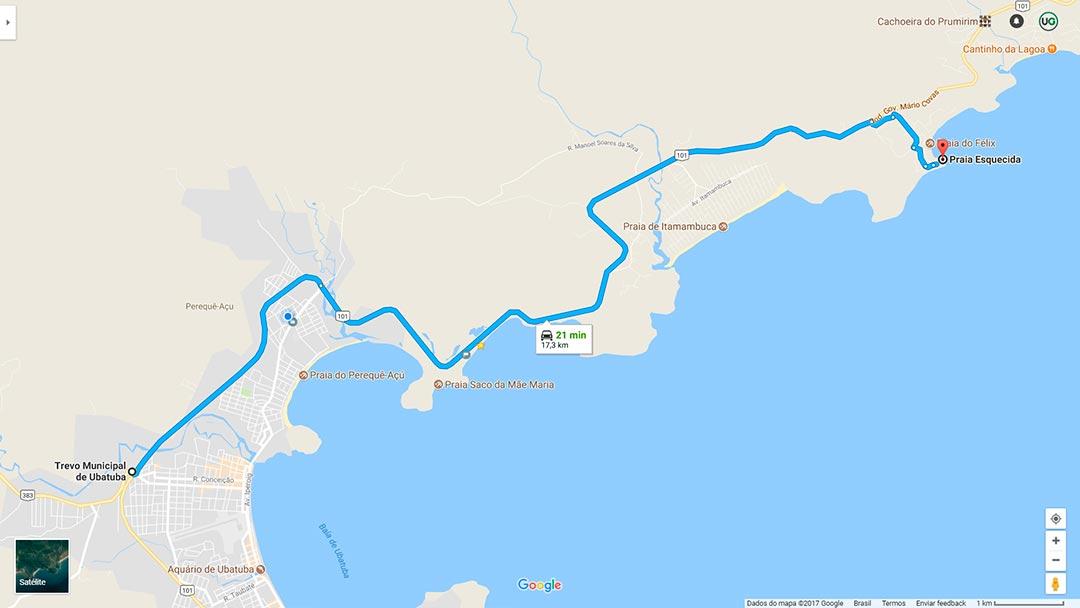 Mapa da Praia do Português em Ubatuba - Mapa da Prainha do Félix em Ubatuba - Mapa da Praia Esquecida em Ubatuba