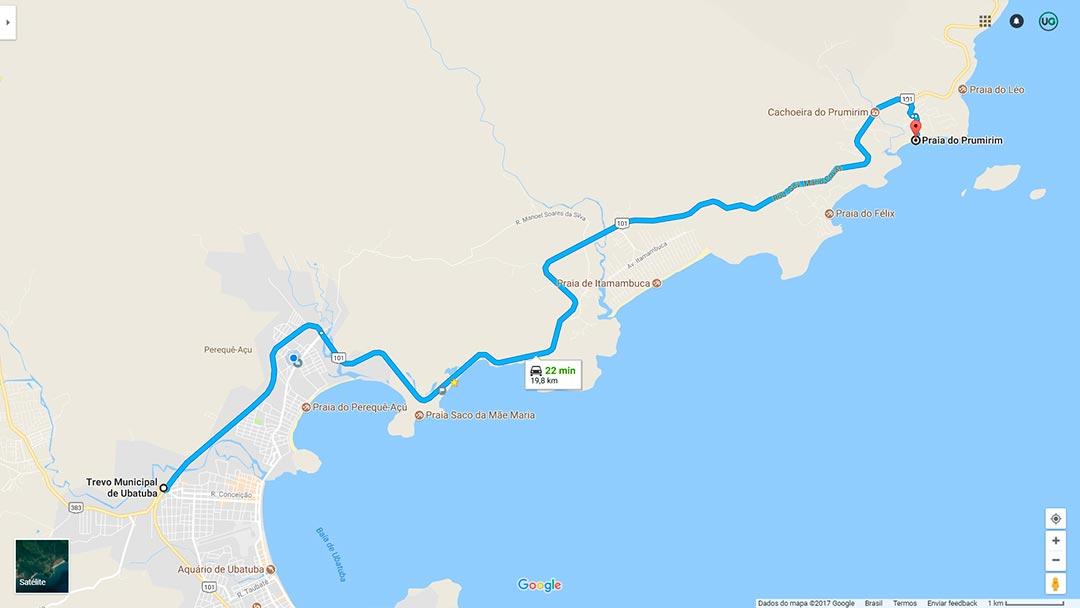 Mapa de localização da Praia do Prumirim em Ubatuba