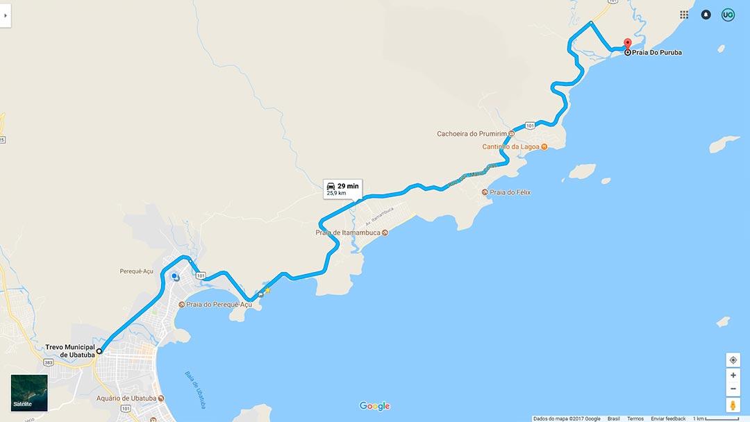 Mapa de localização da Praia do Puruba em Ubatuba