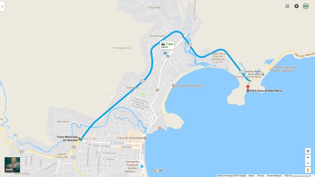 Mapa de localização da Praia Saco da Mãe Maria em Ubatuba