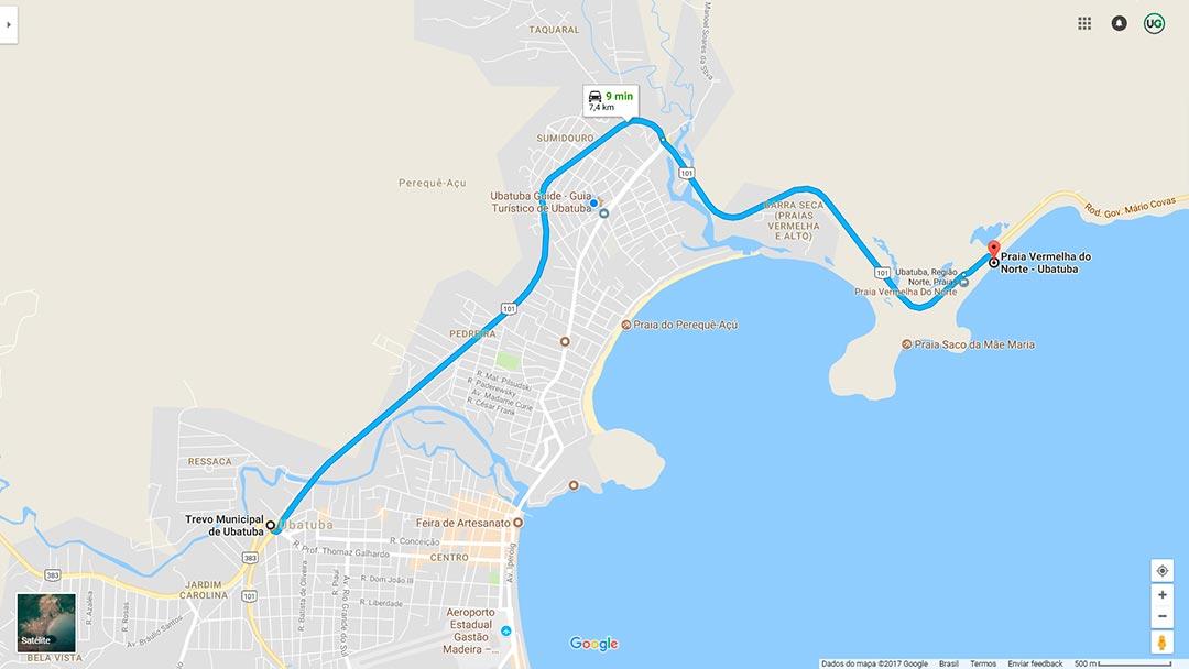 Mapa de localização da Praia Vermelha do Norte em Ubatuba