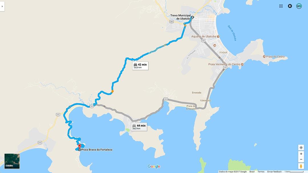 Mapa de localização da Praia Brava da Fortaleza em Ubatuba