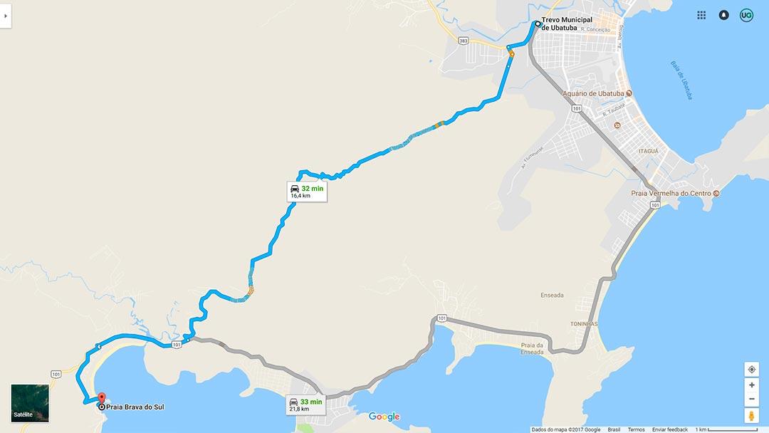 Mapa de localização da Praia Brava do Sul em Ubatuba