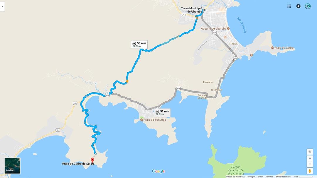 Mapa de localização da Praia do Cedro do Sul em Ubatuba
