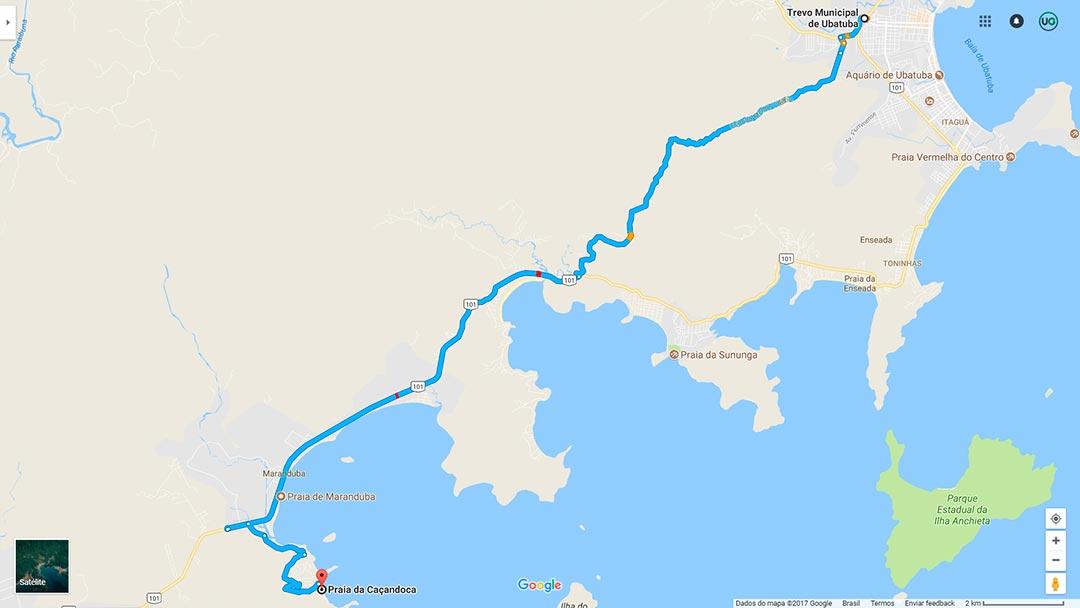 Mapa da Praia da Caçandoca em Ubatuba - Como ir até a Praia da Caçandoca em Ubatuba