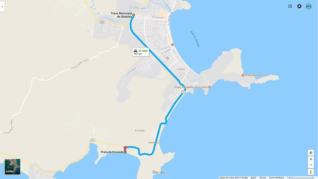 Mapa de localização da Praia da Enseada em Ubatuba