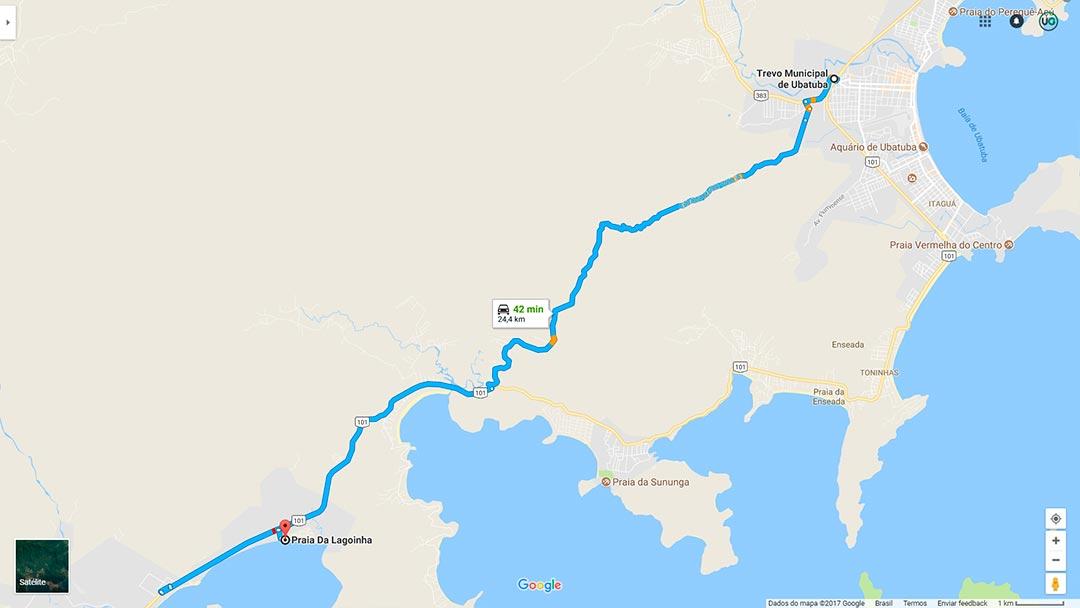 Mapa de localização da Praia da Lagoinha em Ubatuba