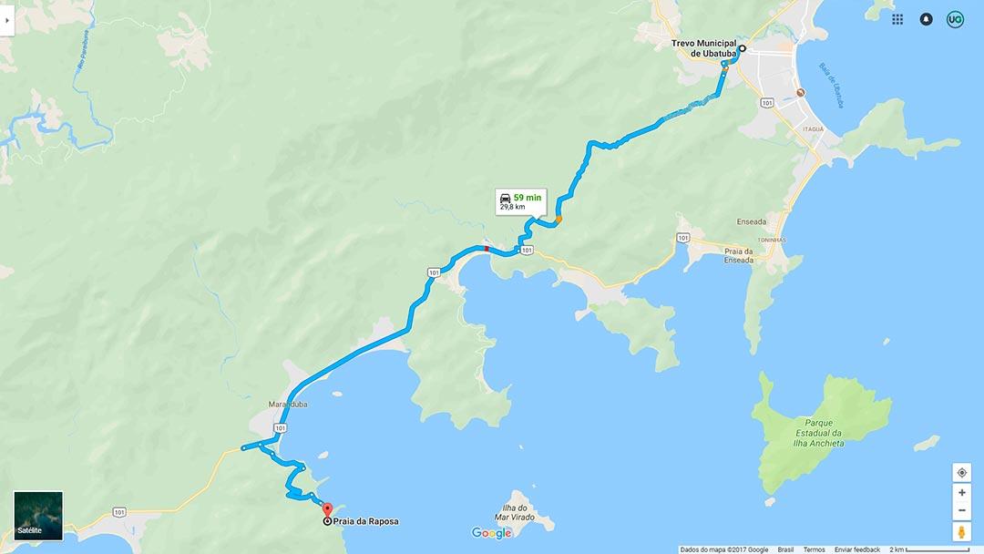 Mapa de localização da Praia da Raposa em Ubatuba