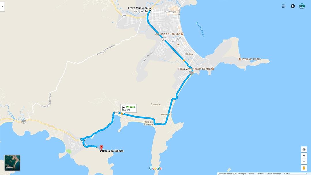 Mapa de localização da Praia da Ribeira em Ubatuba
