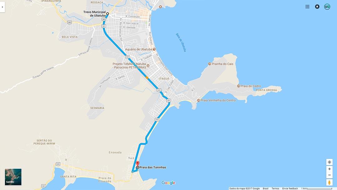 Mapa de localização da Praia das Toninhas em Ubatuba