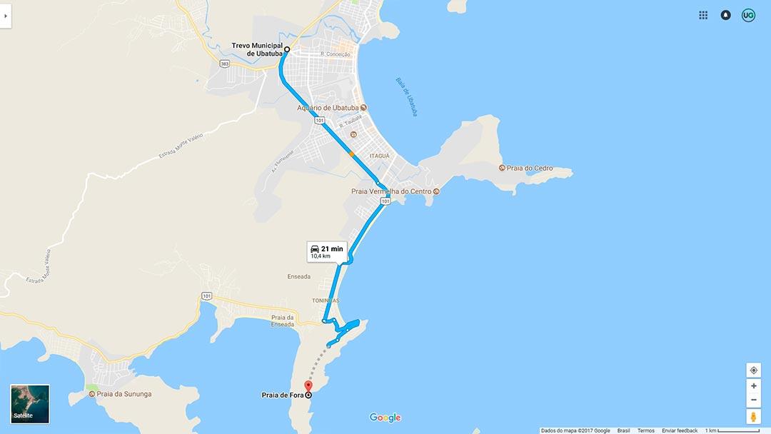 Mapa de localização da Praia de Fora em Ubatuba