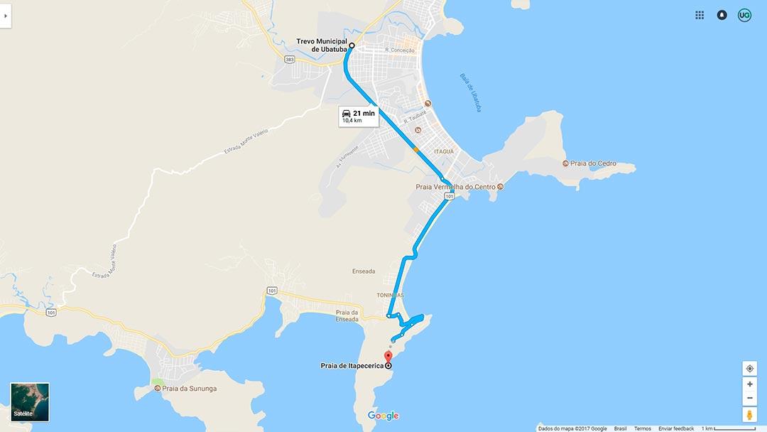 Mapa da Praia de Itapecerica em Ubatuba - Como ir até a Praia de Itapecerica em Ubatuba