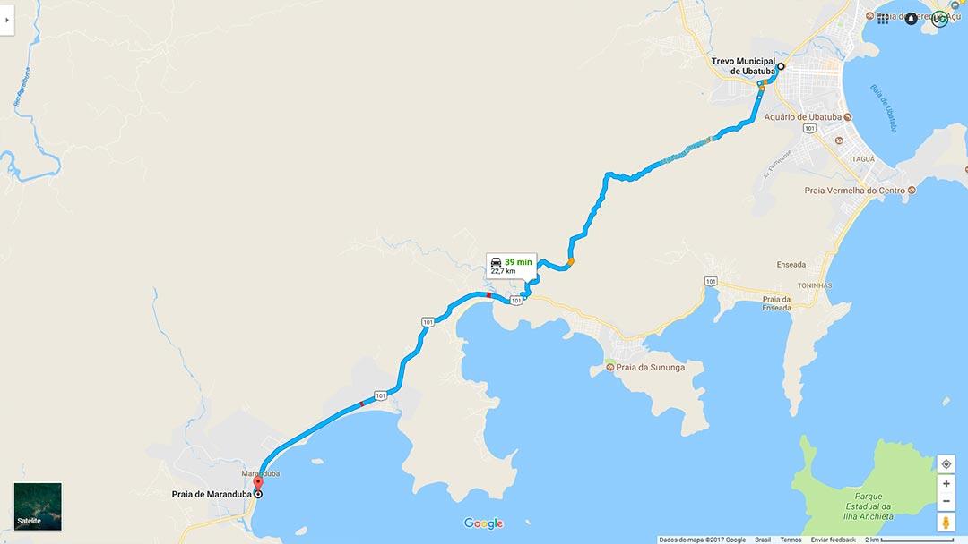 Mapa de localização da Praia de Maranduba em Ubatuba