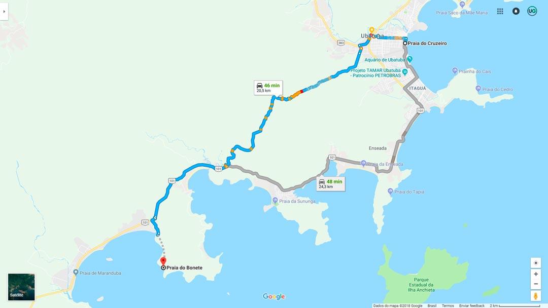 Mapa de localização da Praia do Bonete em Ubatuba