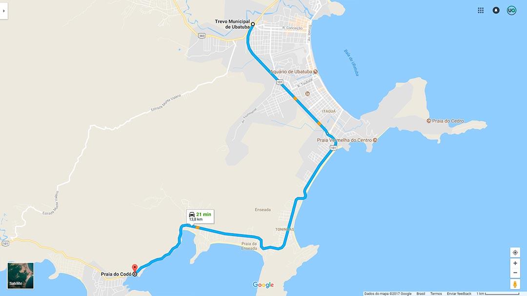 Mapa de localização da Praia do Codó em Ubatuba