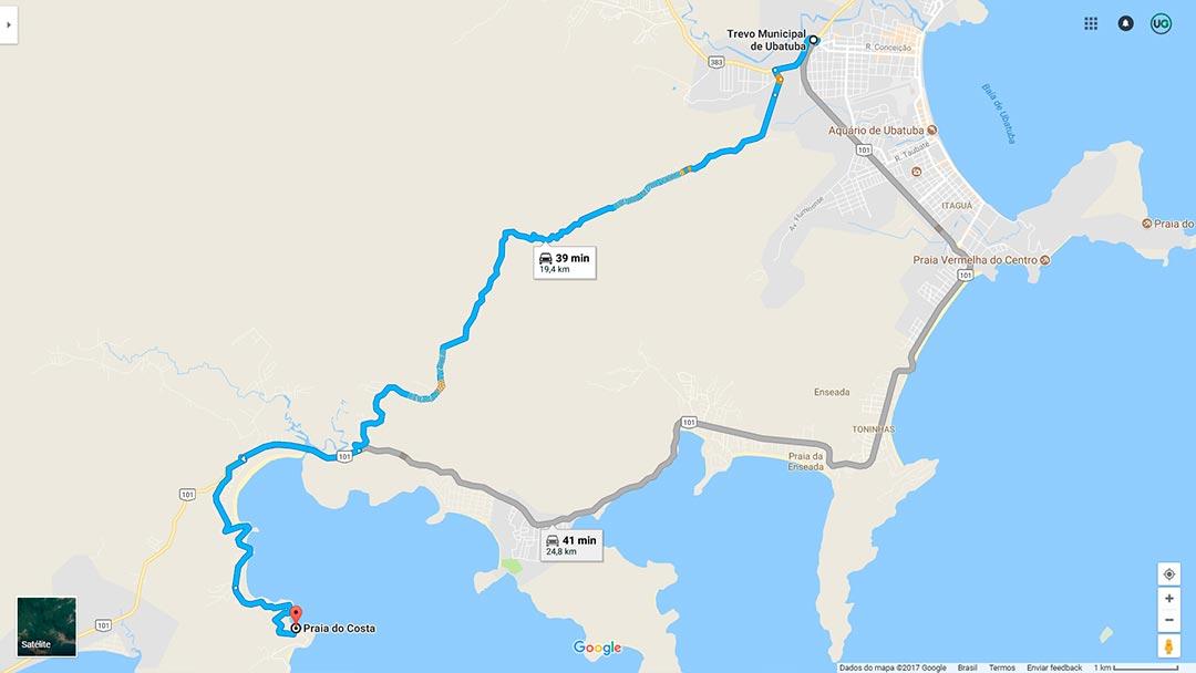 Mapa de localização da Praia do Costa em Ubatuba