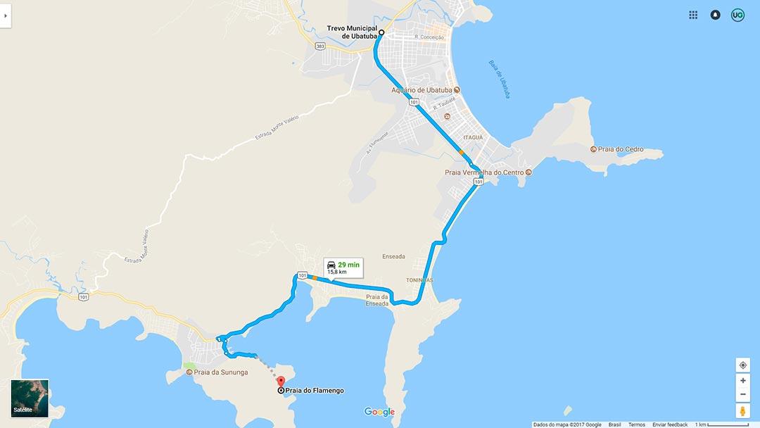 Mapa de localização da Praia do Flamengo em Ubatuba