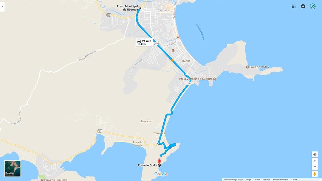 Mapa de localização da Praia do Godói em Ubatuba