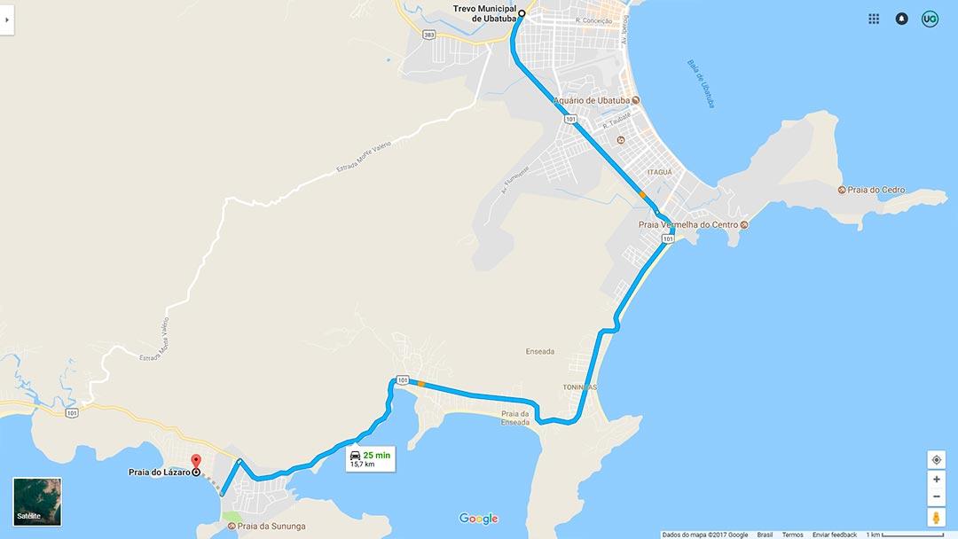 Mapa de localização da Praia do Lázaro em Ubatuba