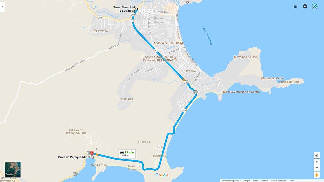 Mapa de localização da Praia do Perequê-Mirim em Ubatuba