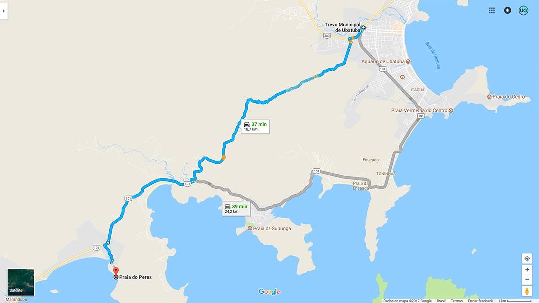 Mapa de localização da Praia do Peres em Ubatuba