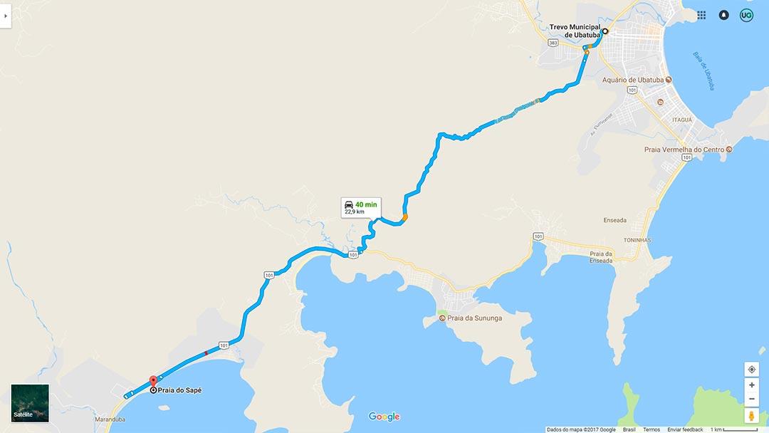 Mapa de localização da Praia do Sapê em Ubatuba