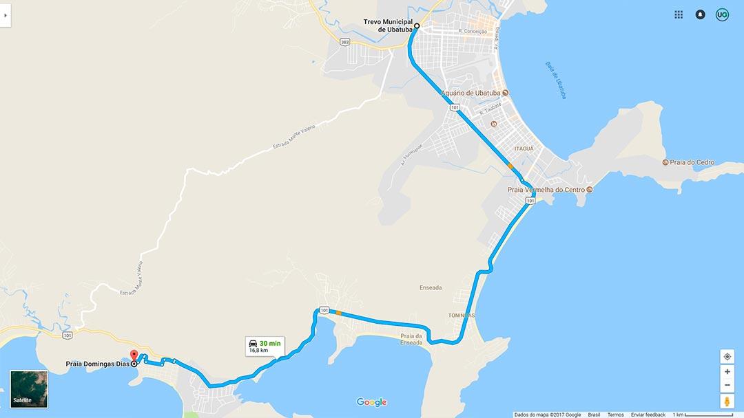 Mapa de localização da Praia Domingas Dias em Ubatuba