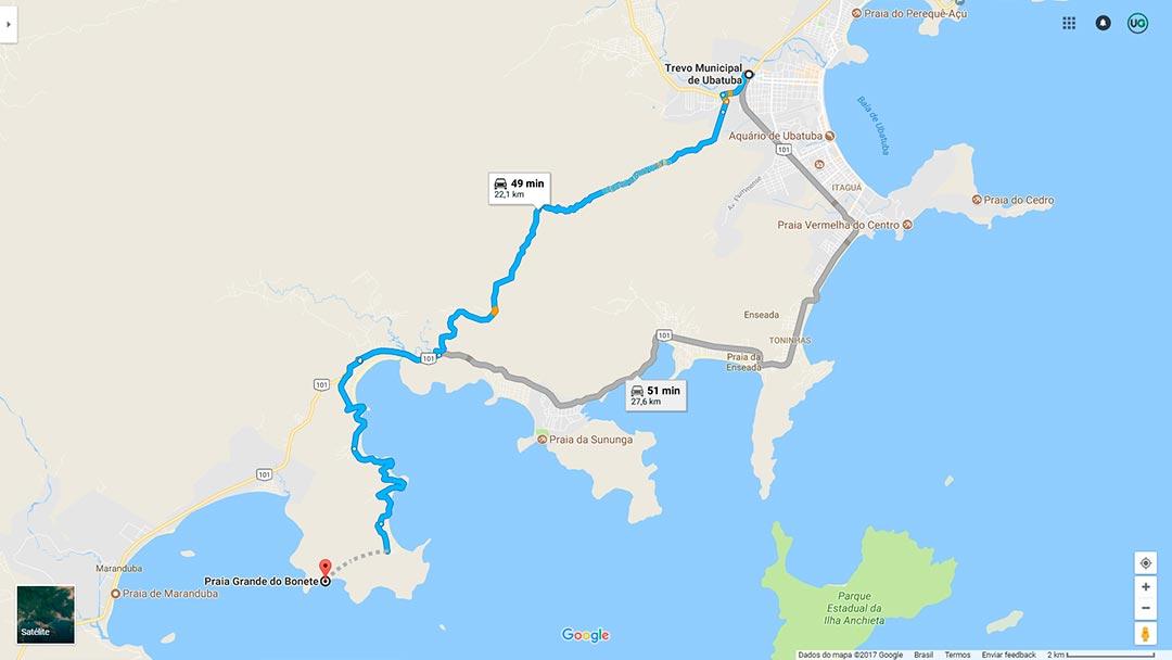 Mapa de localização da Praia Grande do Bonete em Ubatuba