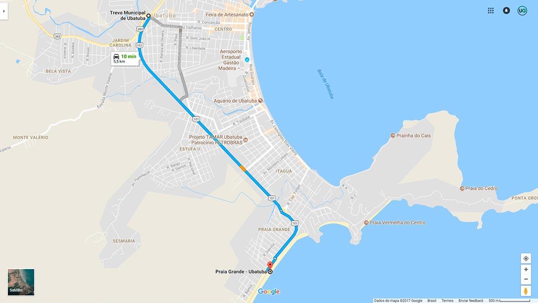 Mapa de localização da Praia Grande em Ubatuba