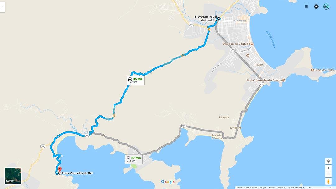 Mapa de localização da Praia Vermelha do Sul em Ubatuba