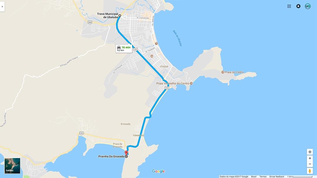 Prainha da Enseada Ubatuba Mapa - Mapa da Prainha da Enseada em Ubatuba