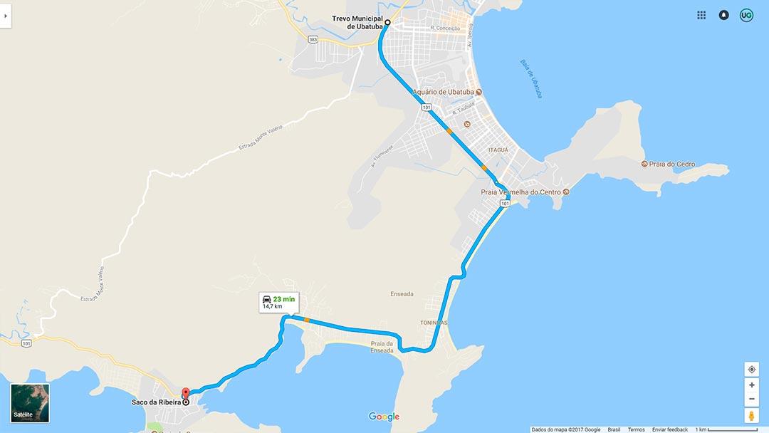 Mapa de localização do Saco da Ribeira em Ubatuba