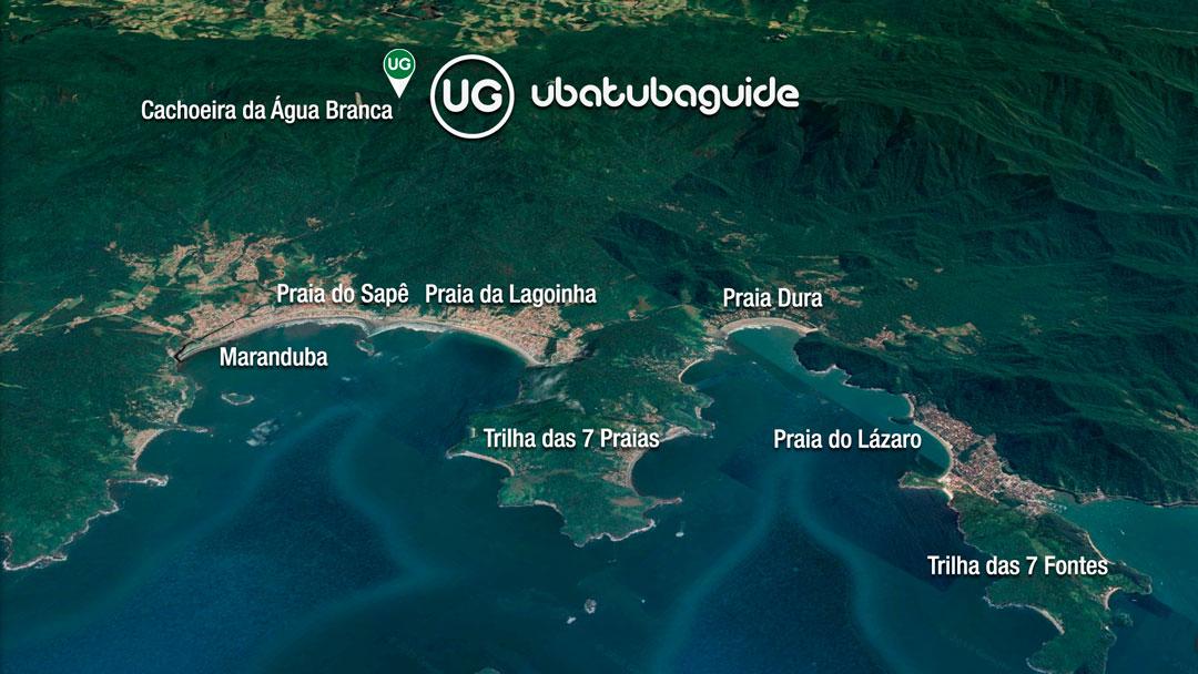 Mapa de localização da Cachoeira da Água Branca em Ubatuba